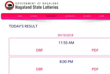 Nagaland Lottery result 30/10/2018 - 4:00 PM