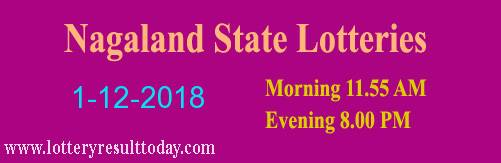 Nagaland Lottery Dear Gentle Morning Result 1/12/2018 (11.55 am)