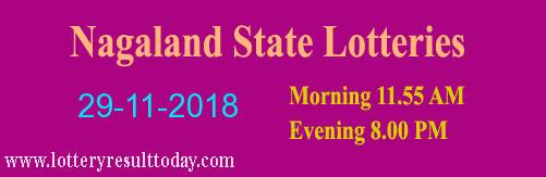 Nagaland Lottery Dear Kind Morning Result 29-11-2018 (11:55 AM)