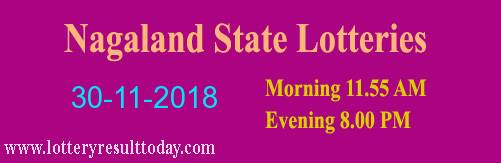 Nagaland State Lottery Dear Tender Morning 30/11/2018 ( 11.55 am)