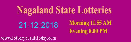 Nagaland State Lottery Dear Tender Morning 21/12/2018 ( 11.55 am)