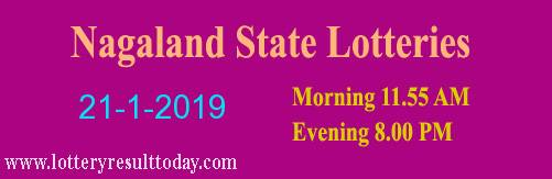Nagaland State Lottery Dear Flamingo 21/1/2019 Evening Result 8.00 pm