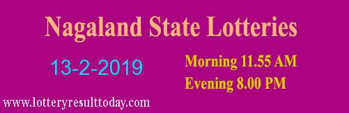 Nagaland Lottery Dear Eagle Evening 13/2/2019 Result 8.00 PM