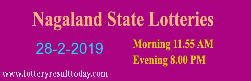 Nagaland Lottery Dear Kind Morning Result 28-2-2019 (11:55 AM)
