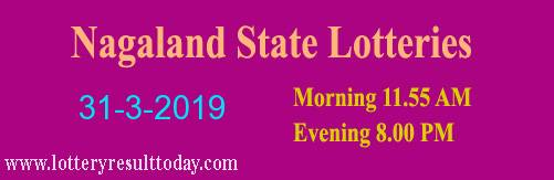 Nagaland Lottery Dear Affectionate 31/3/2019 Morning Result 11:55 AM
