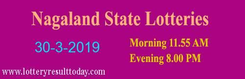 Nagaland Lottery Dear Gentle Morning Result 30/3/2019 (11.55 am)