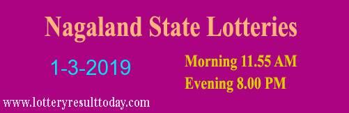Nagaland State Lottery Dear Tender Morning 1/3/2019 ( 11.55 am)