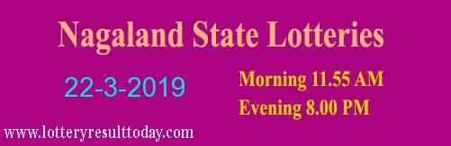 Nagaland State Lottery Dear Tender Morning 22/3/2019 (11.55 am)