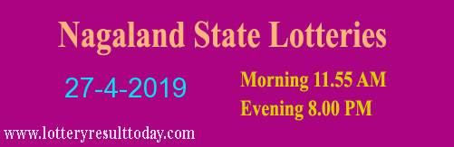 Nagaland Lottery Dear Gentle Morning Result 27/4/2019 (11.55 am)