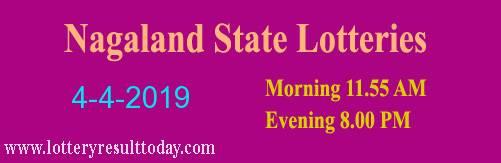 Nagaland Lottery Dear Kind Morning Result 4-4-2019 (11:55 AM)