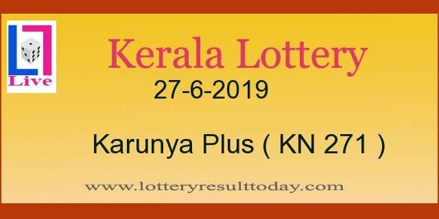 27.6.2019 Karunya Plus Lottery Result KN 271