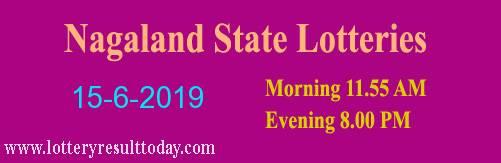 Nagaland Lottery Dear Gentle Morning Result 15/6/2019 (11.55 am)