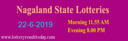 Nagaland Lottery Dear Gentle Morning Result 22/6/2019 (11.55 am)