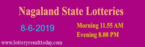 Nagaland Lottery Dear Gentle Morning Result 8/6/2019 (11.55 am)