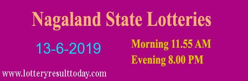 Nagaland Lottery Dear Kind Morning Result 13-6-2019 (11:55 AM)