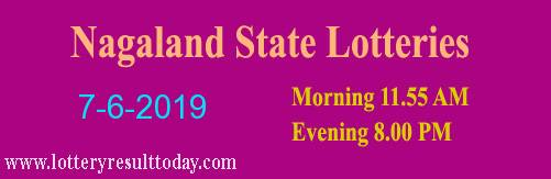 Nagaland Lottery Dear Tender Morning 7/6/2019 (11.55 am)