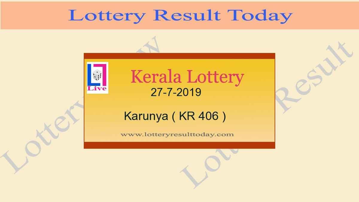 27.7.2019 Karunya Lottery Result KR 406