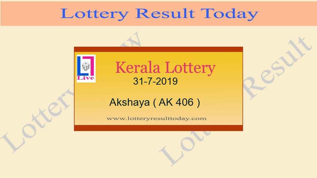 31.7.2019 Akshaya Lottery Result AK 406