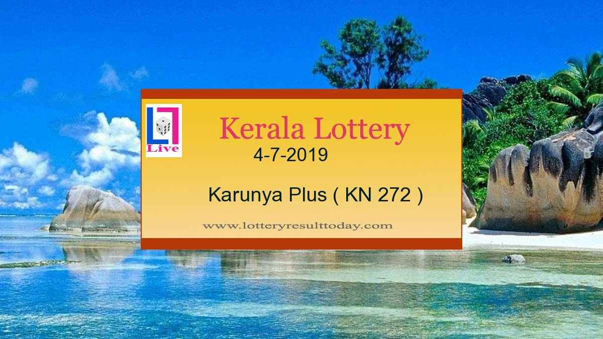 4.7.2019 Karunya Plus Lottery Result KN 272