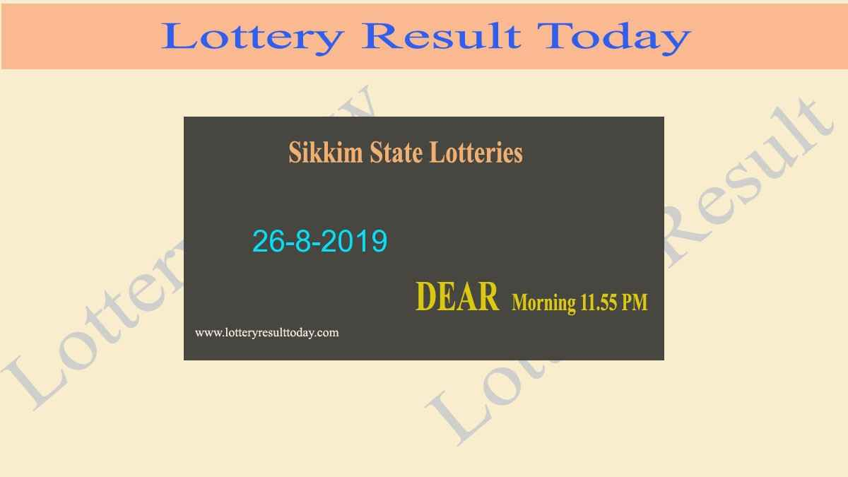 Lottery Sambad 26-8-2019 Sikkim Lottery Result (11.55 am)