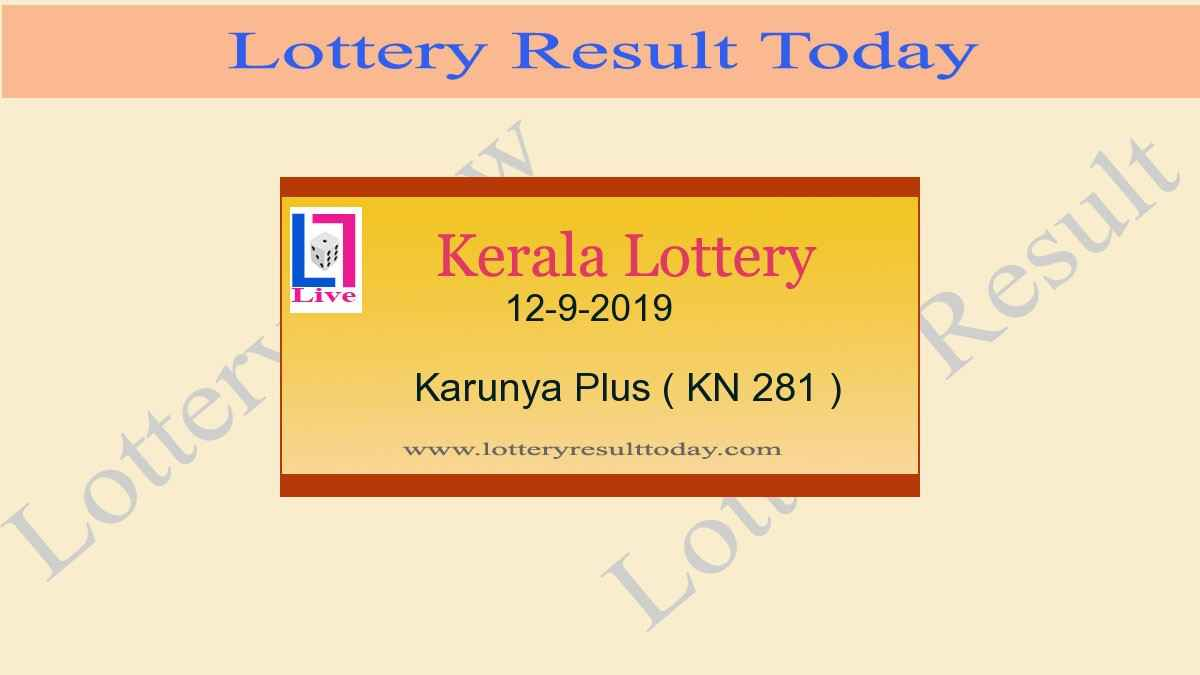 12-9-2019 Karunya Plus Lottery Result KN 281