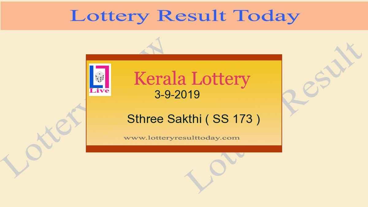 3.9.2019 Sthree Sakthi Lottery Result SS 173