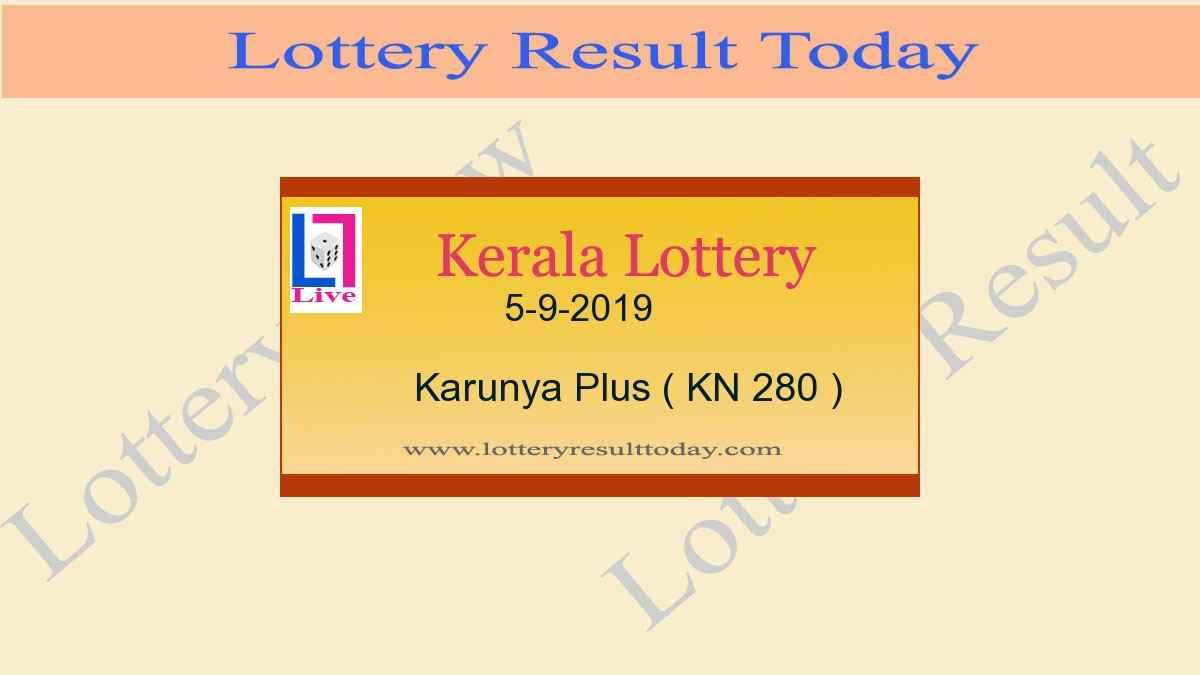 5.9.2019 Karunya Plus Lottery Result KN 280