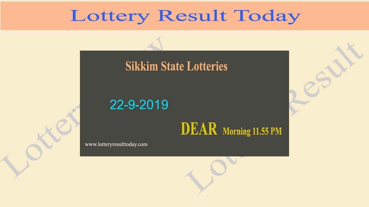 Lottery Sambad 22-9-2019 Sikkim Dear Morning Result (11.55 am)