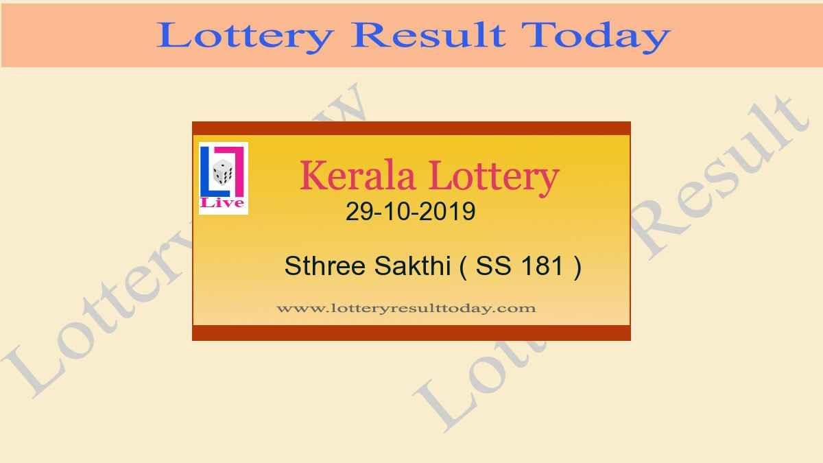 29.10.2019 Sthree Sakthi Lottery Result SS 181