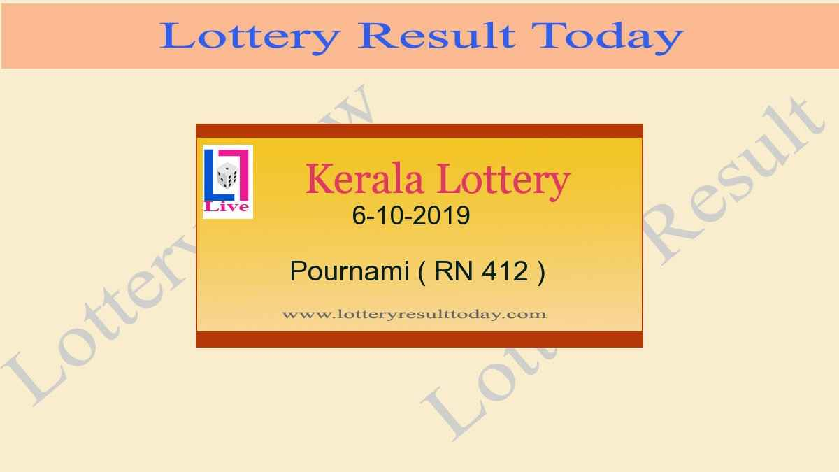 6-10-2019 Pournami Lottery Result RN 412