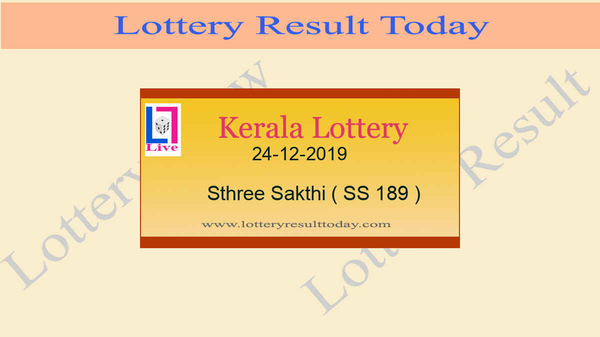 24.12.2019 Sthree Sakthi Lottery Result SS 189