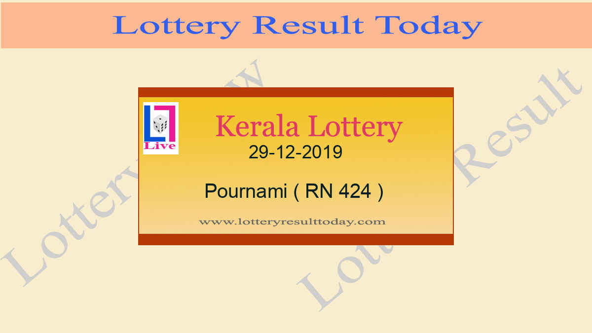 29.12.2019 Pournami Lottery Result RN 424