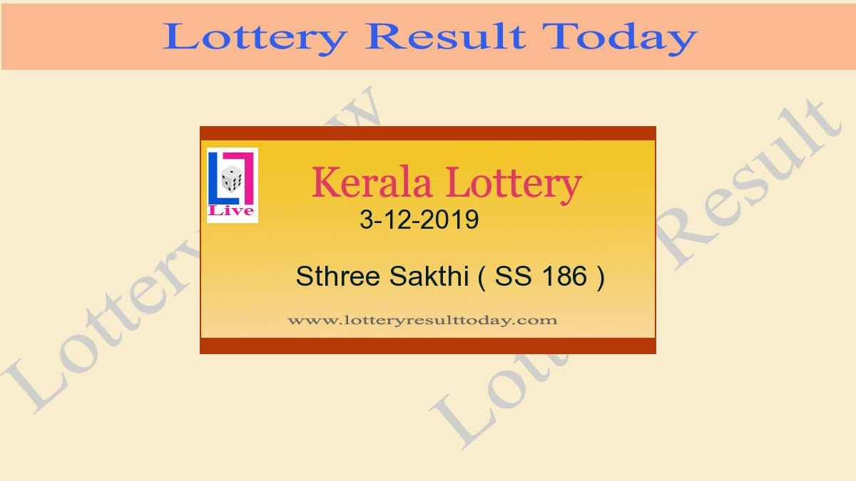 3.12.2019 Sthree Sakthi Lottery Result SS 186