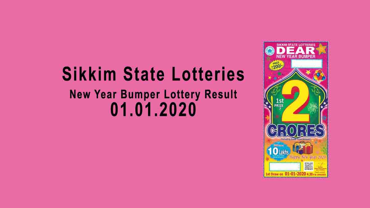Sikkim New Year Bumper Lottery Result 1.1.2020