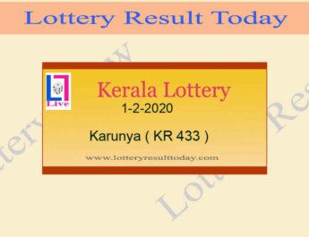 1.2.2020 Karunya Lottery Result KR 433