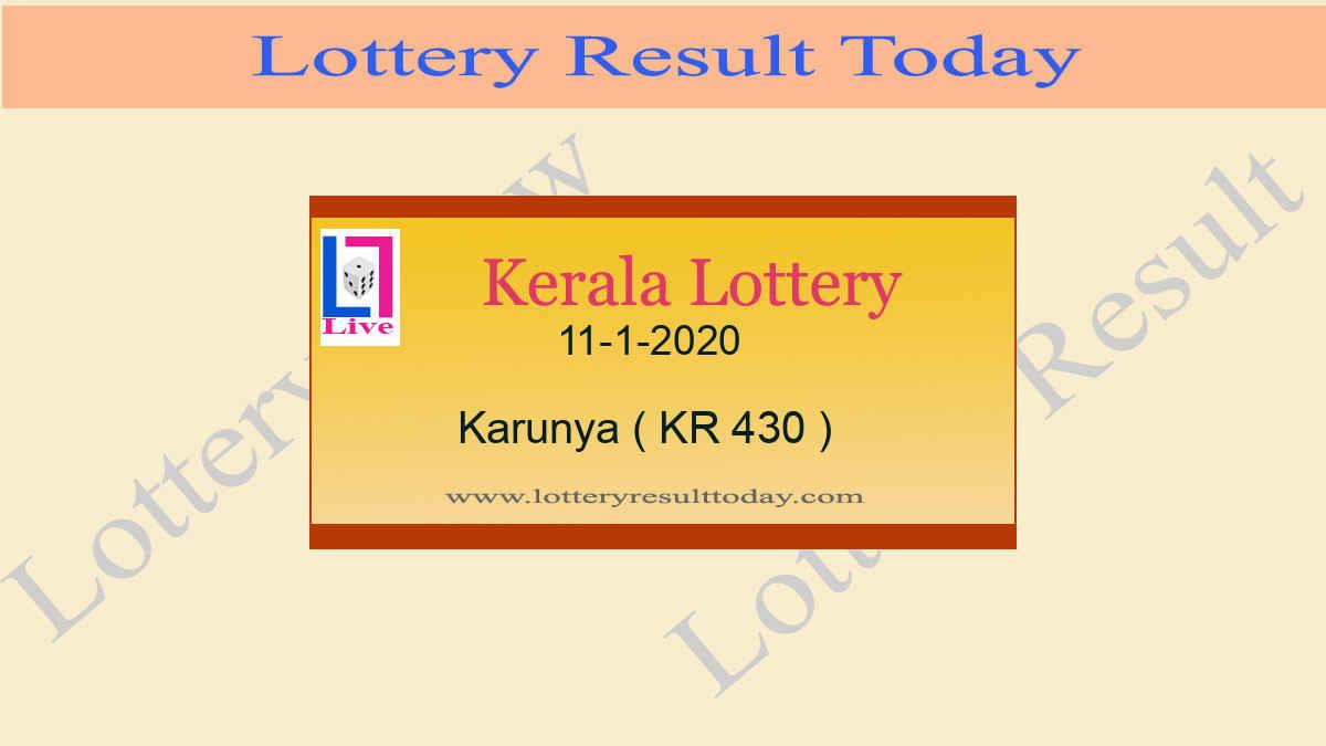 11.1.2020 Karunya Lottery Result KR 430