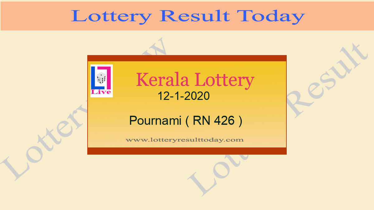 12.1.2020 Pournami Lottery Result RN 426