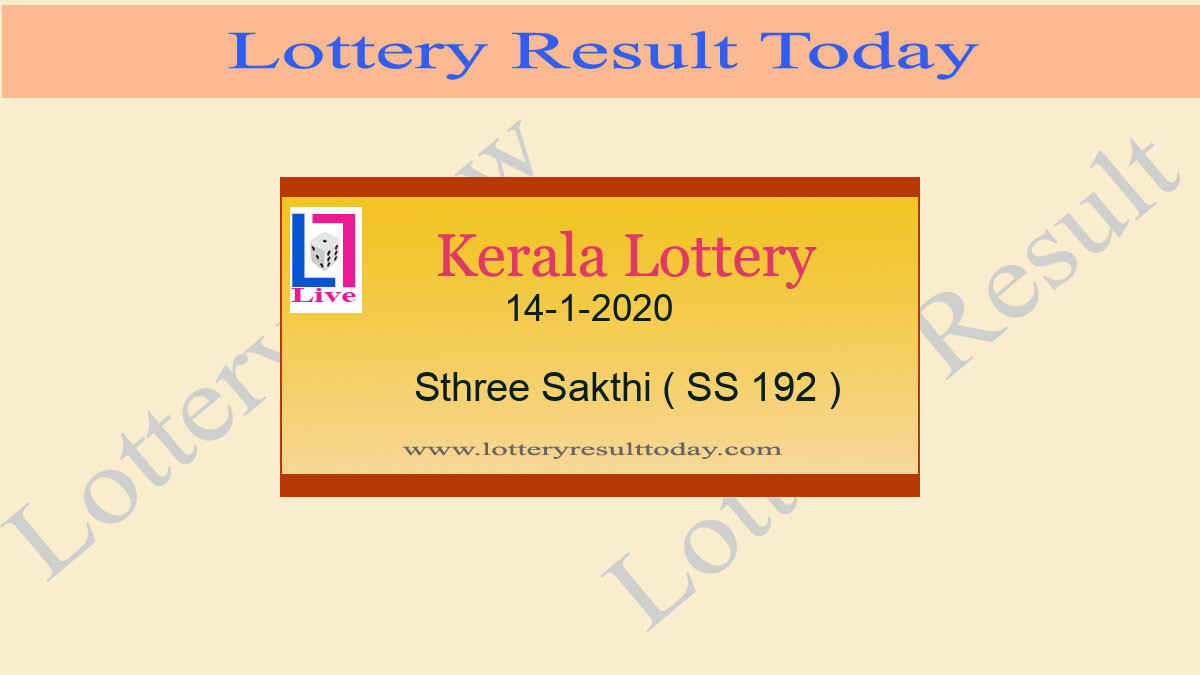 14-1-2020 Sthree Sakthi Lottery Result SS 192