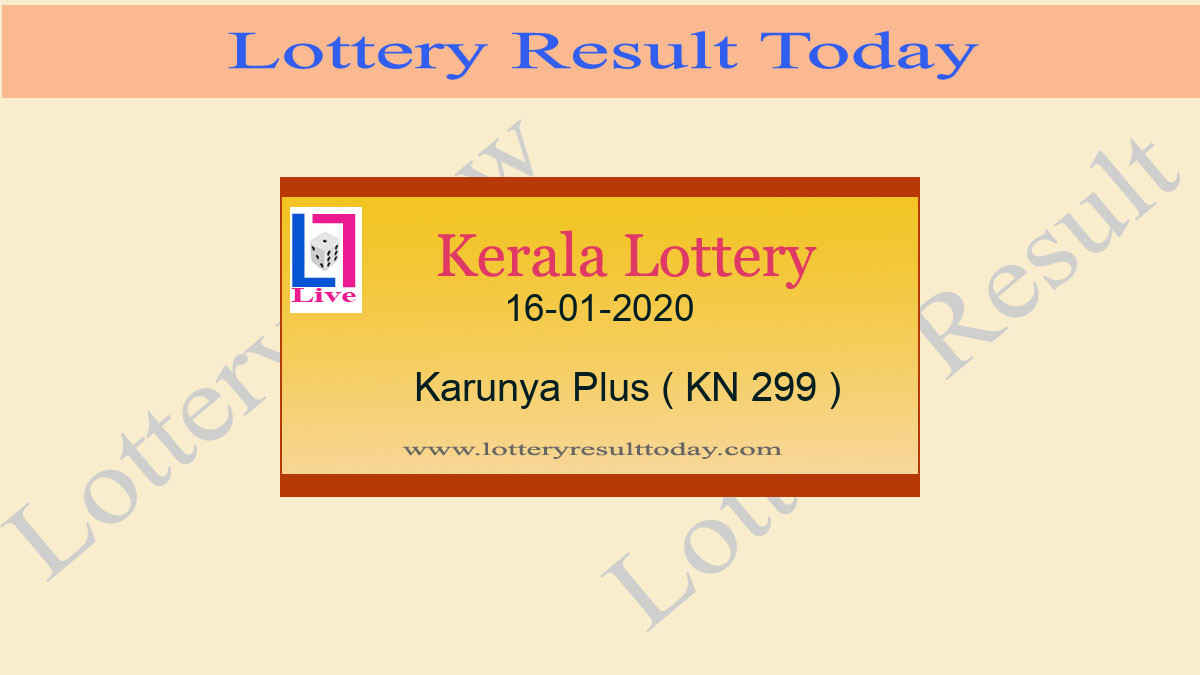 16-01-2020 Karunya Plus Lottery Result KN 299