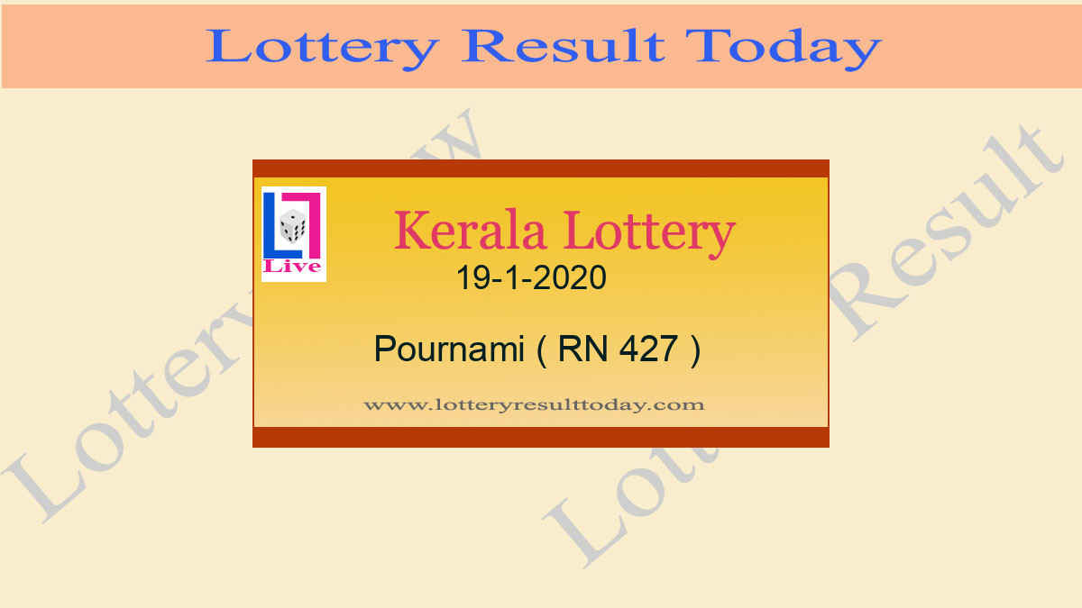 19.1.2020 Pournami Lottery Result RN 427