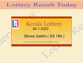 28-1-2020 Sthree Sakthi Lottery Result SS 194