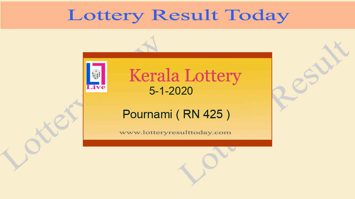 5.1.2020 Pournami Lottery Result RN 425