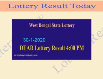 West Bengal State Lottery 30.1.2020 Result (4 PM) - Bangabhumi Bhagirathi