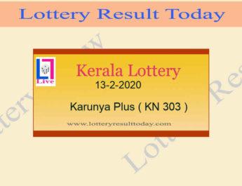 13-2-2020 Karunya Plus Lottery Result KN 303