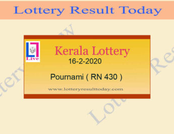 16.2.2020 Pournami Lottery Result RN 430