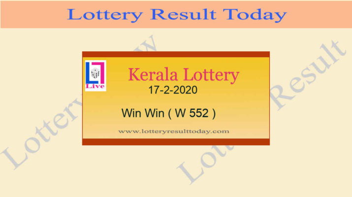 17-2-2020 Win Win Lottery Result W 552