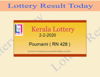 2.2.2020 Pournami Lottery Result RN 428