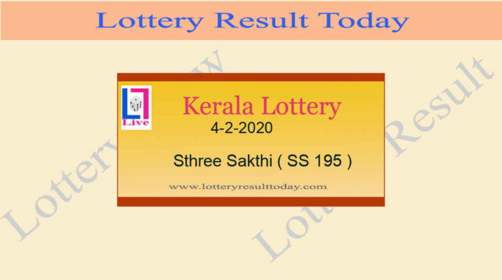 4-2-2020 Sthree Sakthi Lottery Result SS 195