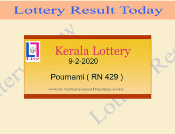 9.2.2020 Pournami Lottery Result RN 429