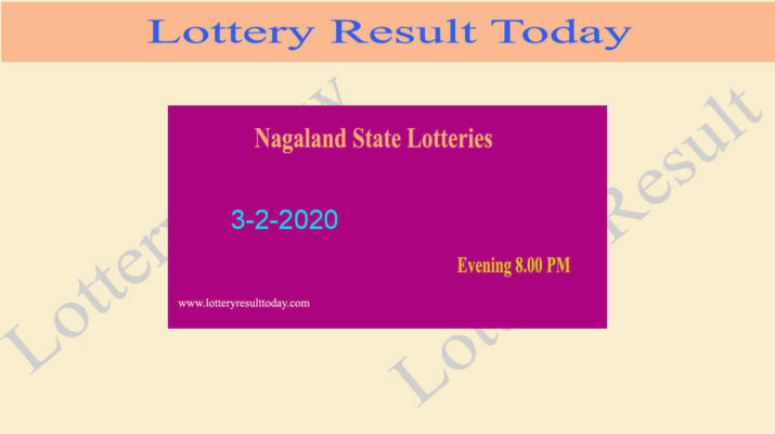 Nagaland Lottery Dear Flamingo Result 3.2.2020 (8.00 pm)